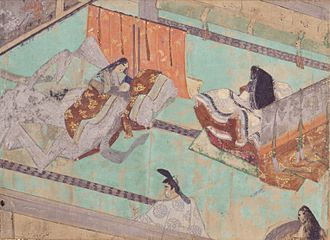 The Diary of Lady Murasaki - The 50th day celebration of the birth of Prince Atsuhira-shinnō (later Emperor Go-Ichijō). Fujiwara no Michinaga is in the foreground offering mochi. The figure to his right might be Murasaki Shikibu, c. 13th century.
