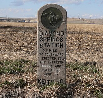 National Register of Historic Places listings in Keith County, Nebraska - Image: Diamond Springs Station monument 1