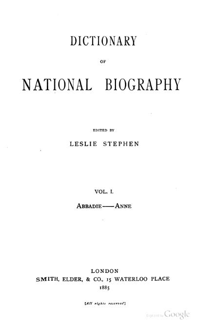 The title page of the first volume of the Dictionary of National Biography (1885) Dictionary of National Biography volume 01.djvu