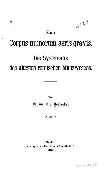 File:Die Systematik des ältesten Römischen Münzwesen.djvu