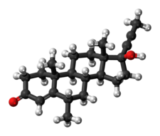 Ball-and-stick model of the dimethisterone molecule