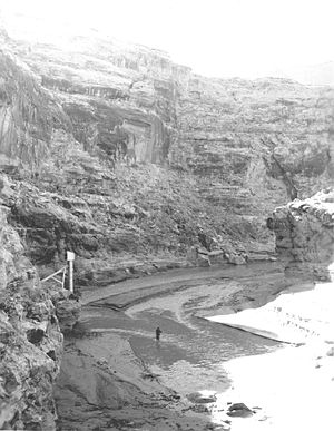 Dirty Devil River - Dirty Devil River on February 16, 1954, near crossover by Poison Springs Wash Road in Hanksville, Utah