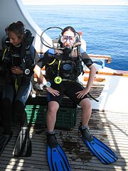 Divemaster ready to dive Shark and Yolanda reef at Rās Muhammad, Sharm el-Sheikh.