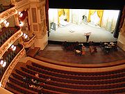 The stage of the Saxon State Opera, completely rebuilt during the German Democratic Republic and reopened in 1985