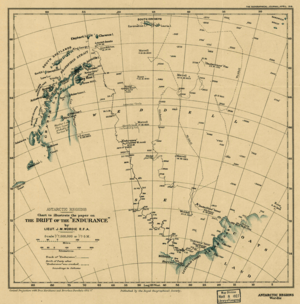 Old chart showing incomplete Antarctia coastline. The chart indicates the line of Endurance's 1915 drift, also the earlier drift of Filchner's Deutschland and the line of James Weddell's 1823 voyage