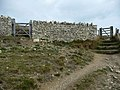 Dry stone wall and double gates on coast path near Seacombe - geograph.org.uk - 1626443.jpg