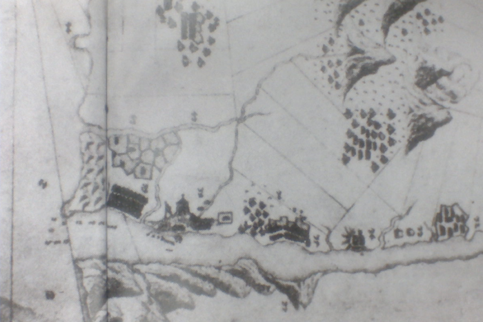 The ancient map drawn by the Dutch in 1654, the sharp-top fortress within it is the Fort San Antonio
