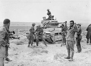 Matilda II - A captured Matilda put into use by the German forces, is recaptured and its crew taken prisoner by New Zealand troops, 3 December 1941 during the battle to open the corridor to Tobruk, Operation Crusader.