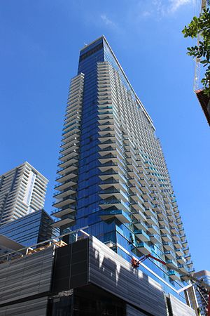Brickell City Centre - The phase one towers are tall and slender with glass walls and standard balconies.