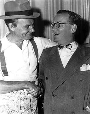 Ed Gardner - Gardner as Archie (left) with Ransom Sherman, the host of the radio program which replaced Duffy's Tavern for its summer hiatus.