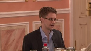 File:Edward Snowden speaks about NSA programmes at Sam Adams award presentation in Moscow.webm