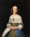 Een jonge vrouw met een struisveer in haar hand, door Isaack Luttichuys.jpg