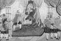 El Rei D. Manoel commette a Vasco da Gama a empreza do descobrimento da India, e lhe entrega a bandeira - 18th-century embroidery.png