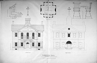 Carpenters' Hall - Image: Elevations plans and details by C. L. Hillman and John Mc Clintlock ca. 1898 HABS PA,51 PHILA,229 8