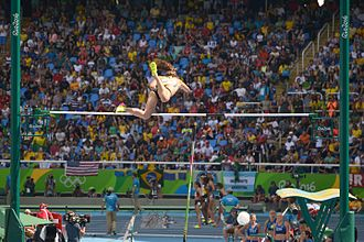 New Zealand at the 2016 Summer Olympics - Eliza McCartney clears the bar during the qualifying round of the women's pole vault.