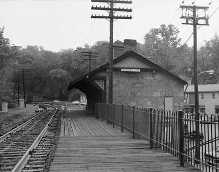 Ellicott City Station, on the original B&O Railroad line, is the oldest remaining passenger station in the United States. The rail line is still used by CSX Transportation for freight trains, and the station is now a museum. Ellicott City Station 1970.jpg