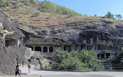 Ellora Buddhist caves from without.jpg