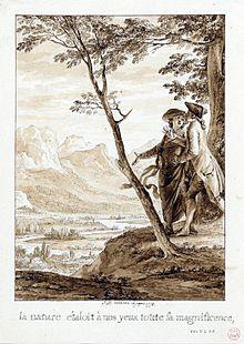 Du haut d'une colline un homme fait admirer à un autre le paysage de la vallée du Pô au soleil levant.