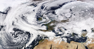 Anticyclonic storm - Satellite view showing the beginning interaction of Cyclone Emma nearing from the Southwest and Anticyclone Hartmut covering Europe from the Northeast on 27 February. As the collision of the systems continued, Emma's structure became much more distorted on 28 February.