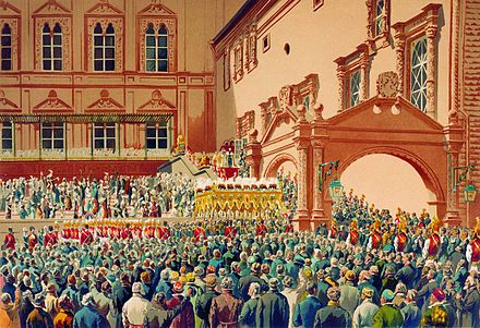 Reception of the tsar of Russia in the Moscow Kremlin, by Ivan Makarov Emperor by Ivan Makarov.jpg