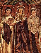 The Empress Theodora, the wife of the Emperor Justinian, dressed in Tyrian purple. (6th century)