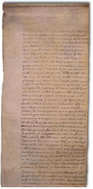 Monarchy of the United Kingdom - The English Bill of Rights of 1689 curtailed the monarch's governmental power.