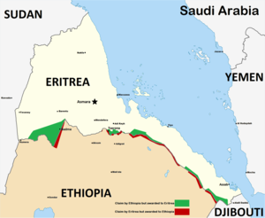 Eritrean–Ethiopian War - Map of the disputed territories on the Eritrea–Ethiopia border.