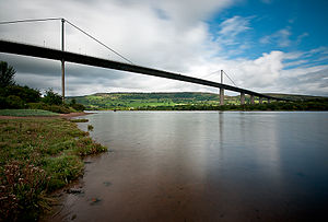 Erskine Bridge - View of the Erskine Bridge from the south bank of the River Clyde