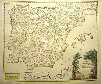 Andalusia - Map of the Iberian peninsula dated 1770. The Kingdoms of Jaén, Córdoba and Seville are collectively referred to under the name Andalucía, while the Kingdom of Granada appears under its individual name.