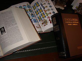 Enciclopedia universal ilustrada europeo-americana - 3 volumes of the encyclopedia.