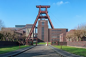 Zollverein Coal Mine Industrial Complex - The winding tower of shaft 12 with inscription Zollverein has become a well-known symbol of Essen and the whole Ruhr area.
