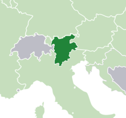 The Tyrol–South Tyrol–Trentino Euroregion (dark green) lies immediately to the eaat of Switzerland (grey).