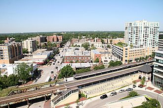 Evanston, Illinois - Shops along Davis Street, looking west, August 2006. The Davis Street Metra stop is visible in the lower half of the photograph.