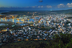 Aerial view of Port Louis in evening