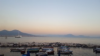 Evening - View on the bay of Naples, overlooking Mount Vesuvius at 7:30 pm local solar/standard time