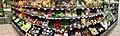 Extra Coop Supermarket, Amfi Shopping mall, Osøyro, Hordaland, Norway, Distorted panorama 2018-03-22. Vegetable shelves, aisle, display, mirror (grønnsaksdisk) C.jpg