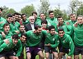 FM Zarif in Iran national football team training before 2014 FIFA World Cup 05.jpg
