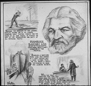 frederick douglass  poster from office of war information domestic operations branch news bureau 1943 america the beautiful quarter honoring frederick douglass