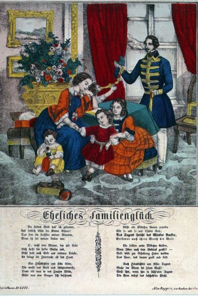 Idealized representation of the bourgeois family image (Neuruppiner Bilderbogen about 1860-1870).