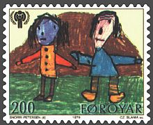 Faroe stamp 041 childrens year (children of different skin colour).jpg