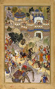Farrukh Beg. Akbar's Triumphal Entry into Surat. Akbarnama, 1590-95, Victoria and Albert Museum, London