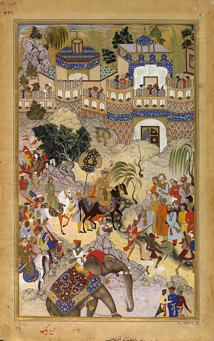 Akbar triumphantly enters Surat Farrukh Beg. Akbar's Triumphal Entry into Surat. Akbarnama, 1590-95, Victoria and Albert Museum, London.jpg