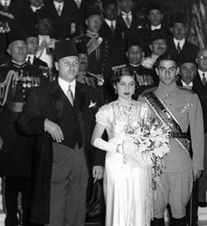 Mohammad Reza Pahlavi - Photograph of the wedding ceremony of Crown Prince Mohammad Reza (right) and Princess Fawzia of Egypt at Abdeen Palace in Cairo (1939)