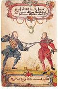 Fechtende adelige Studenten um 1590