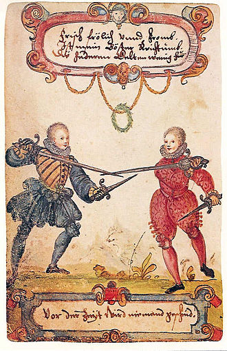 Historical European martial arts - Students fencing with rapier and dagger, ca. 1590