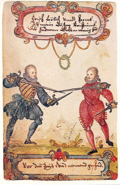 Students fencing with rapier and dagger, ca. 1590