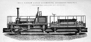 Aldershot narrow-gauge suspension railway - Image: Fell's Narrow Gauge Locomotive, Alershot Railway. Constructed by by Messrs Manning, Wardle, and Co., Leeds