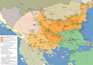 Battle of Maritsa - Image: Feudal fragmentation of Bulgaria and fall under Ottoman rule