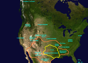 A Canticle for Leibowitz - North America in 3174, showing Texark territory in yellow. Texark expansion as described in this story and in Saint Leibowitz and the Wild Horse Woman is marked in orange.