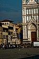 Firenze - Florence - Piazza di Santa Croce - View East on Dante Alighieri 1865 by Enrico Pazzi & Façade 1863 by Niccolò Matas in front of la Basilica di Santa Croce.jpg